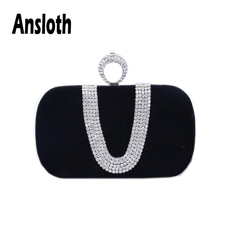 Ansloth Luxury Rhinestones Clutch Bag For Women Solid Color Evening Bag Ladies Wedding Bride Clutches Female Party Purse HPS548