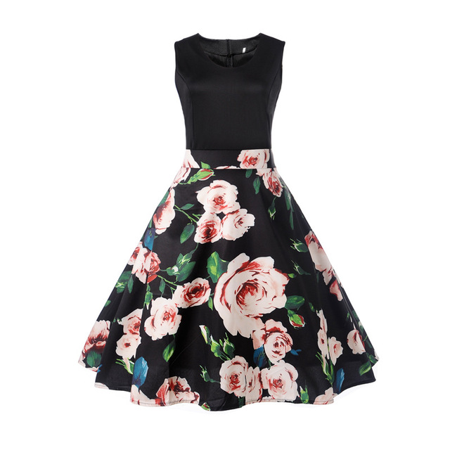 AIEnny Floral Print Women Summer Hepburn 50s 60s A-Line Sleeveless Party Dresses