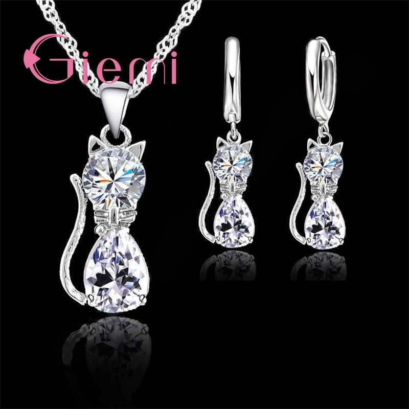 Genuine Top Highly 925 Sterling Silver Clear Cubic Zirconia Cat Pendant Necklace+ Earrings Hot Crystal Jewelry For Women