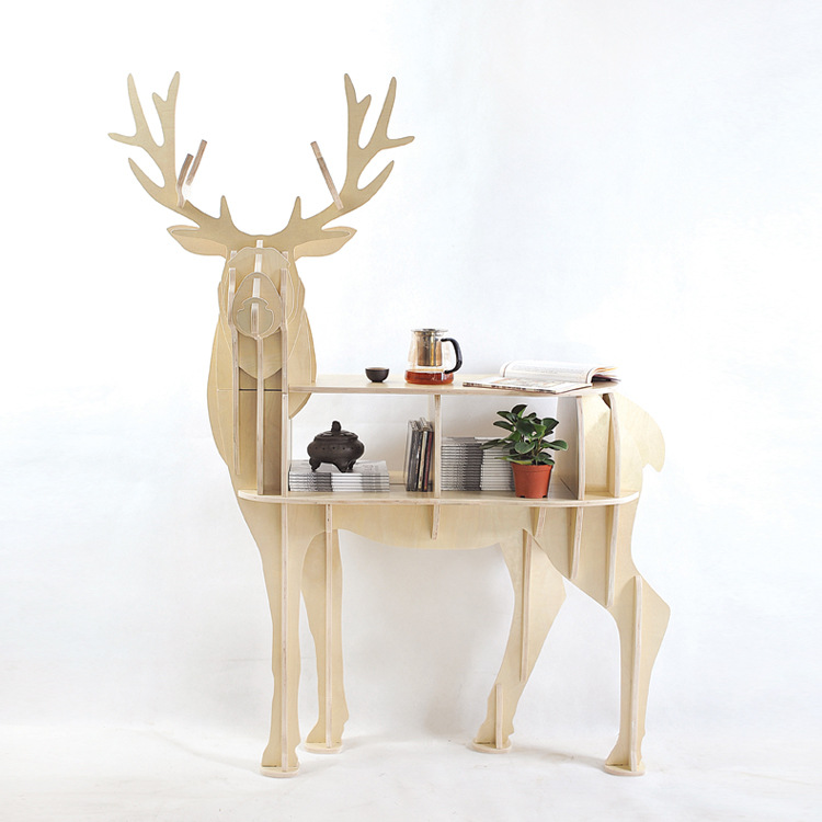 Christmas Decorations Deer Table European Diy Arts Crafts Home Decorative Elk Wood Craft Gift