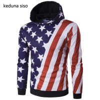 Cool Style Pullover Hoodie Men American Flag Print Raglan Sleeve Star Striped Hoodies Male Sweatshirt Tracksuits