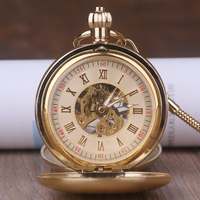 Pure Copper Classic Retro Hollow Gold Dial Skeleton Hand Winding Mechanical Analog Men Chain Pocket Watch +Gift Box