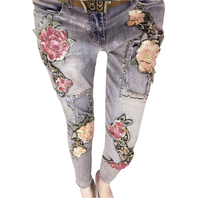 Worn-effect embroidered jeans bleached denim Girls-age-4-to-12