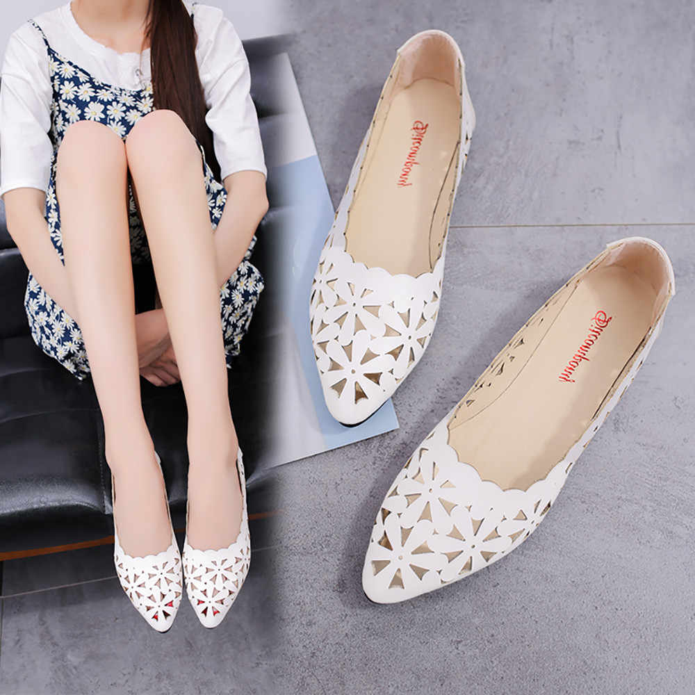 aabf1e04511 2019 Women s Pumps New Fashion Spring Summer Shoes Shallow Low Heel Hollow  Out Flower Shape Nude