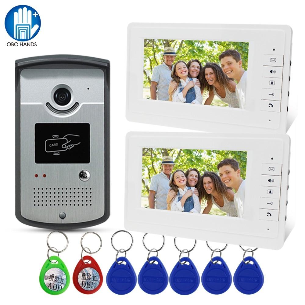 купить Wired RFID Video Intercom System Rainproof IR Camera 7 inch Video Door Phone Doorbell Two Monitor Display Screen with RFID Keys онлайн