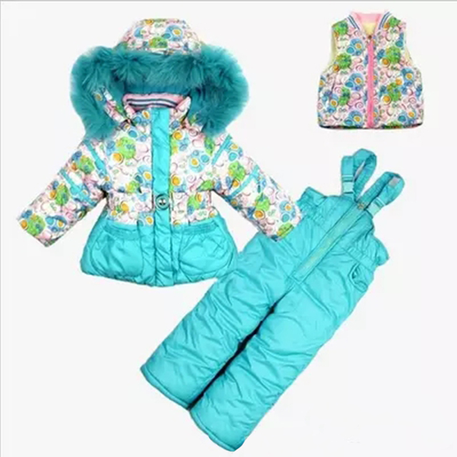 2017 loss promotion  baby girls ski suit sports sets kids flower printing winter coat Children clothing set 3 pcs