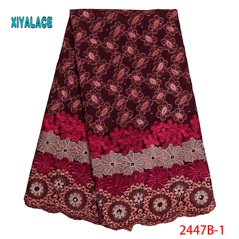 African Lace Fabrics 2019 Nigerian Swiss Voile Lace High Quality French Swiss Voile Lace In Switzerland For Wedding YA2447B-1