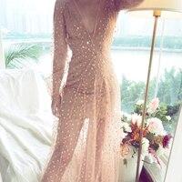 Ky&Q BOHO Oversized Sexy Women Voile Summer Dress Long Sleeve Strapless Stars Appliques Beach Party Vestidos Dresses Female