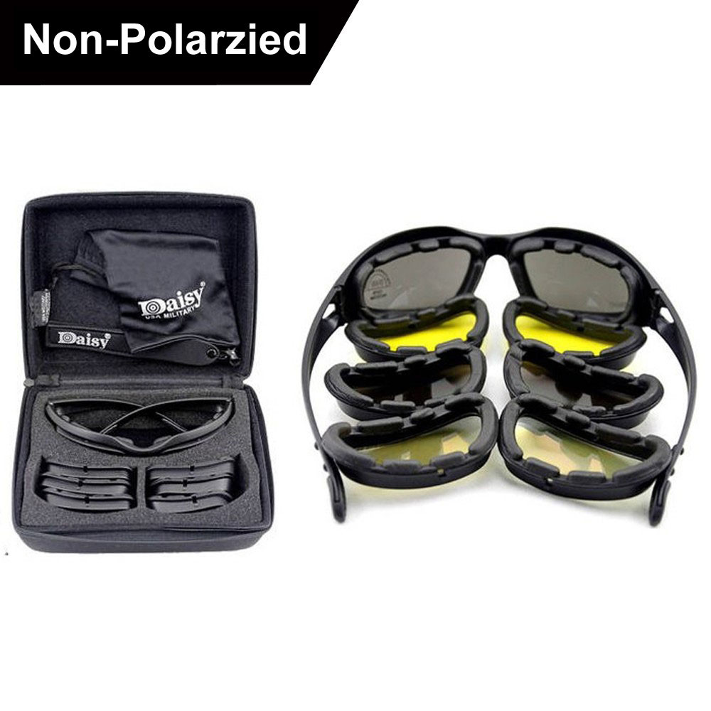 New Daisy C5 Polarized Army Goggles Sunglasses Men Military Sun Glasses For Men's Desert Storm War Tactical Goggles 2016 new tinize rimless polarized sunglasses driving ultra light titanium rimless aviation sun glasses mengafas de sol hombre