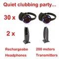 Competir sistema Silent Disco negro led auriculares inalámbricos Silencioso Clubbing Party Bundle (30 Auriculares + 2 Transmisores)