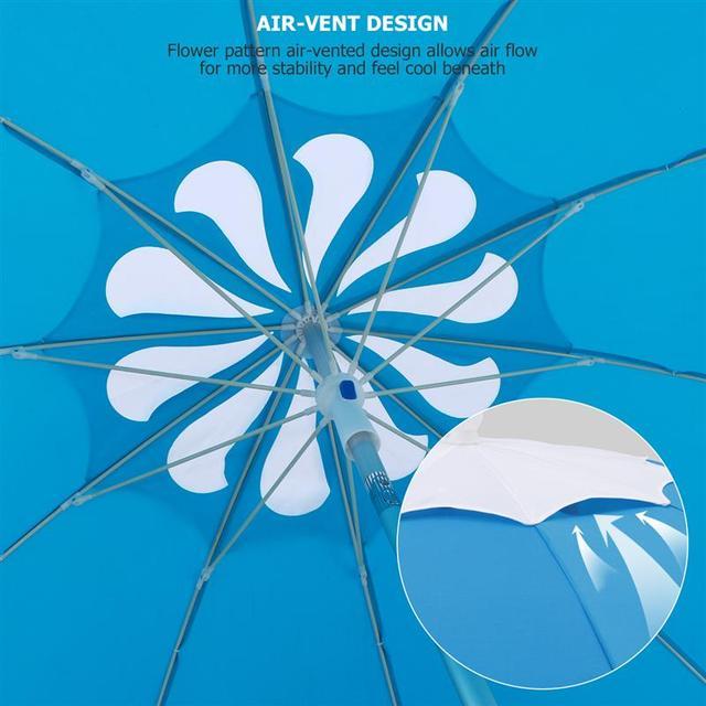 MOVTOTOP 1PC Flower Design Beach Umbrella UV Protection with Aluminum Pole Portable Wind Beach Umbrella Adjustable Sand Umbrella 4
