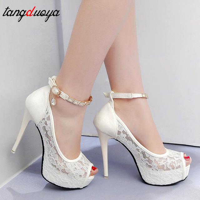 Women Lace Wedding Shoes Peep Toe High Heels Women Shoes Summer Pumps Platform High Heel Sandals Women Pumps Crystal talon femme