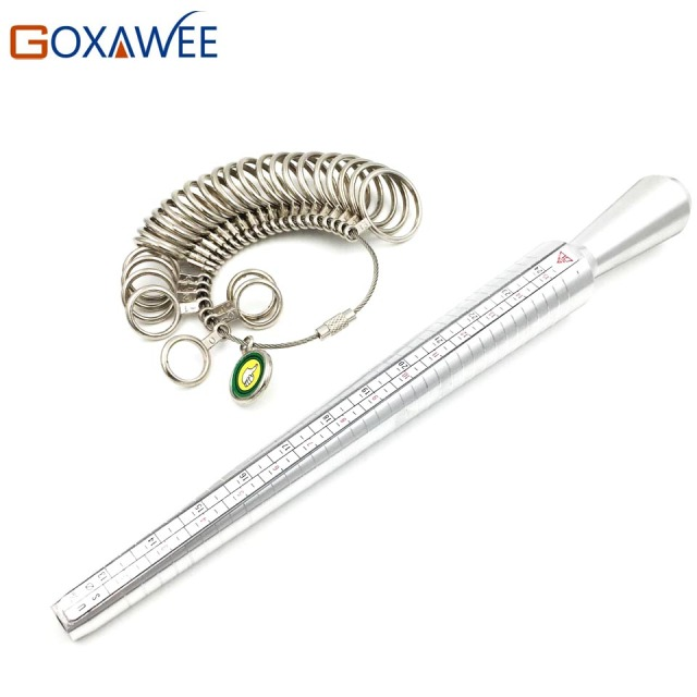 Goxawee ring sizer finger sizing jewelers measuring stick metal goxawee ring sizer finger sizing jewelers measuring stick metal finger ring gauge set mandrel us size greentooth Image collections