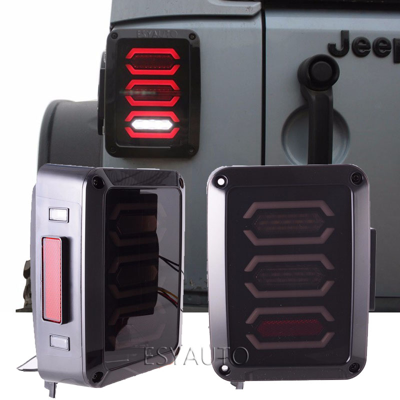 LED Tail Lights Aseembly Diamond Smoked Lens DRL Brake Turn Signal Reverse Rear Light USA/EU Version for Jeep Wrangler JK for vw volkswagen polo mk5 6r hatchback 2010 2015 car rear lights covers led drl turn signals brake reverse tail decoration