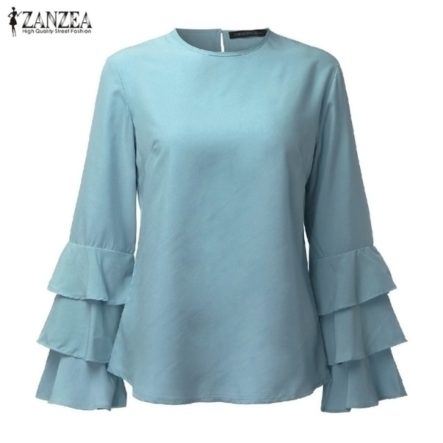 ZANZEA Women Blouses Shirts 2018 Autumn Elegant Ladies O-Neck Flounce Long Sleeve Solid Blusas Casual Loose Tops 5