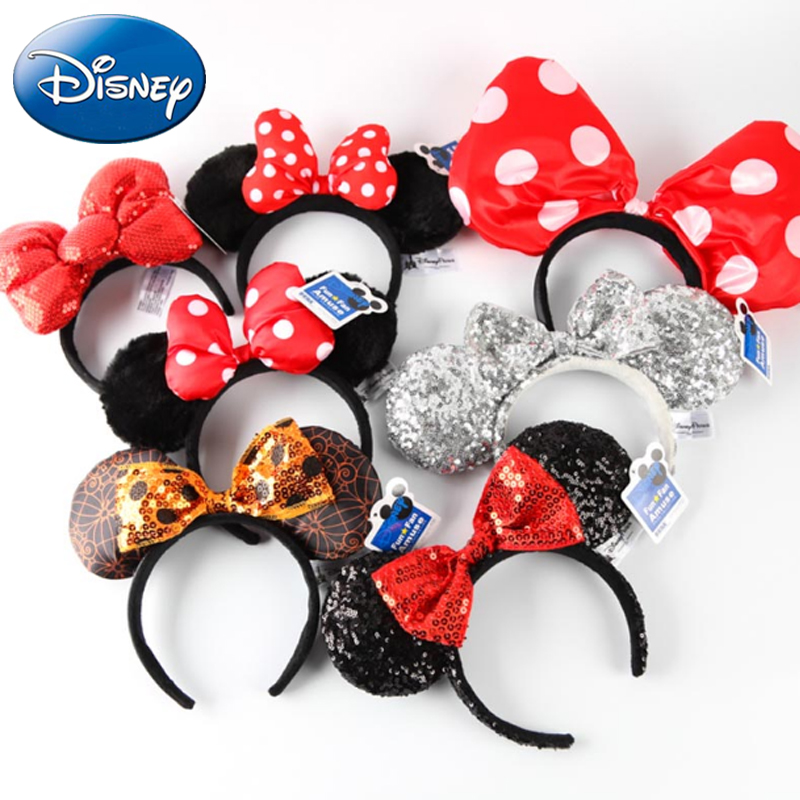 Disney New Girl Mickey Minnie Hairband Play Game Women Party Headdress Ears Plush Toy Hair-Bands Princess Head Hoop Kid Gift image