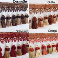 PanlongHmoe 12M High End Curtain Tassels Hanging Bead Lace Trim 10 Colors 8cm Trimmings Fringes DIY