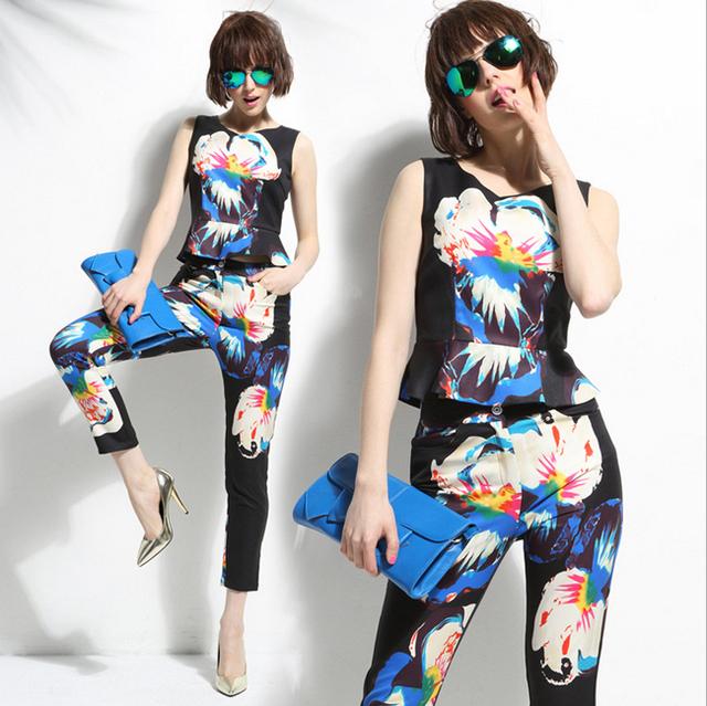 2016 Moda Estilo Mulheres de Negócio Ternos Escritório Formal Ternos Trabalho Plissado Decoração Top Com Calça Calças Impressão Terno Mulheres