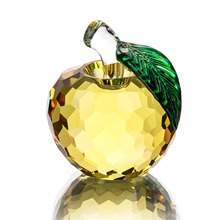 H&D New Christmas Gifts 40mm 3D Crystal Yellow Apple Paperweights for Figurine Ornaments Glass Crafts Office Desktop Decor