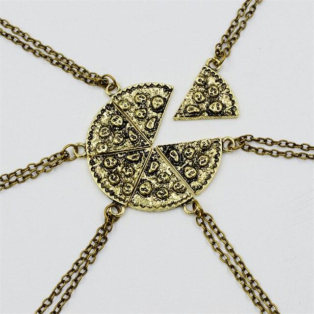7176a8178d89 € 1.8 40% de DESCUENTO|Bronce rebanada de Pizza encantos gargantilla 6  piezas antiguos encantos de collar para las mujeres Vintage Cadena de ...