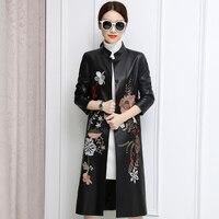 Новые осенние Кожаные куртки Для женщин в длинная куртка с секциями ветровка Китайский ветер Тан костюм с цветочной вышивкой тонкий Пальто