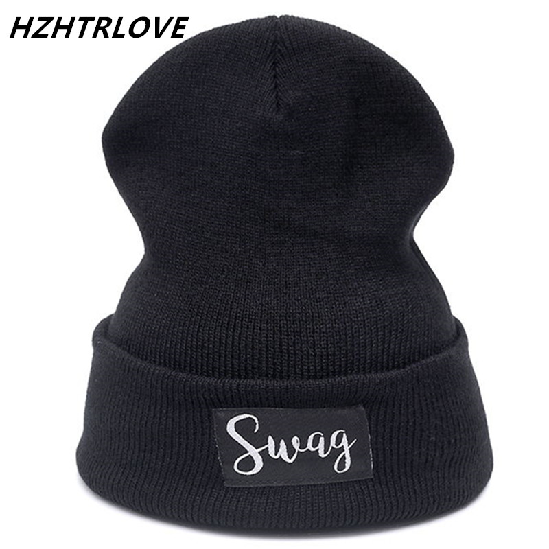 Letter Swag Casual Beanies for Men Women Fashion Knitted Winter Hat Solid Color Hip-Hop Skullies Bonnet Unisex Cap Gorros Bone fashion winter cap women men casual hip hop hats knitted skullies beanie hat for unisex knitted cap gorros beanies bonnet