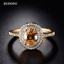 BUDONG 2017 Stylish Finger Ring for Women Gold Color Shiny Big Orange Oval Crystal Zirconia Luxury