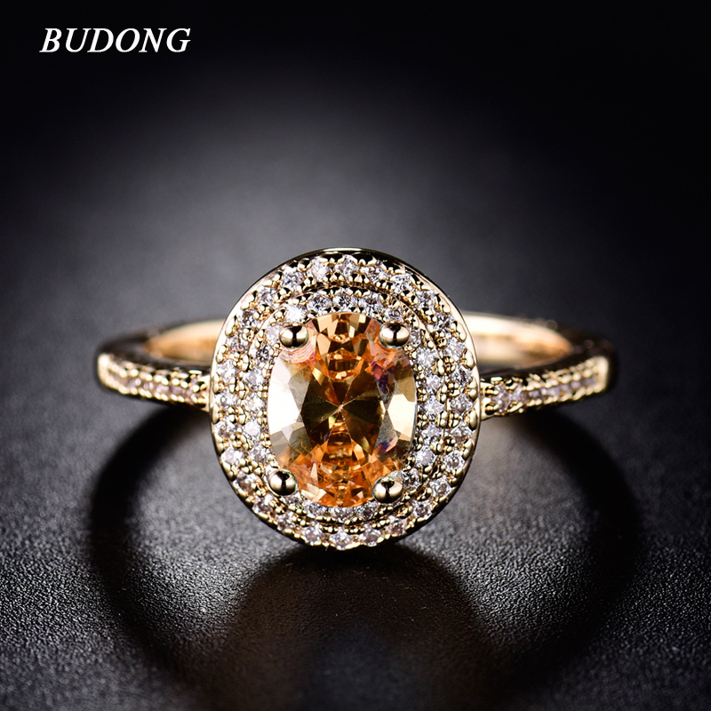 BUDONG 2017 Stylish Finger Ring for Women Gold Color Shiny Big Orange Oval Crystal Zirconia font