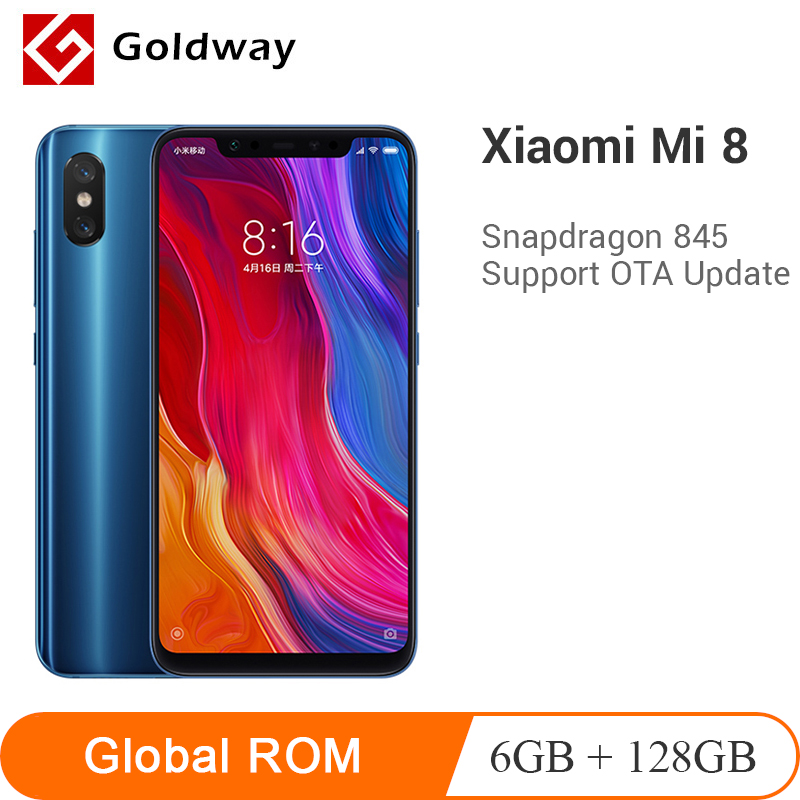 Original Xiaomi Mi 8 6GB RAM 128GB ROM Snapdragon 845 Octa Core Mobile Phone Mi8 3400mAh Dual 12MP+20MP 6.21