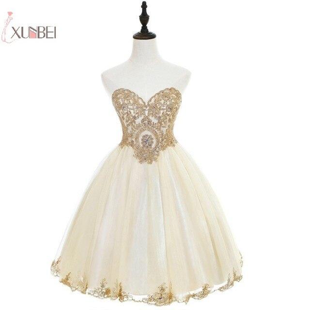 Elegant 2019 Champagne Tulle Short Prom Dresses Sweetheart Neck Sleeveless Gown vestidos de gala In Stock 1