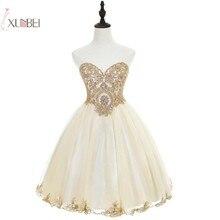 Elegant 2019 Champagne Tulle Short Prom Dresses Sweetheart N