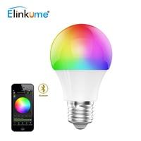 Elinkume Dimmable Wireless Control LED RGB Blub Bluetooth 5W E27 AC110V-240V 500LM SMD5630 LED Lamp Bulb Indoor Home Lighting