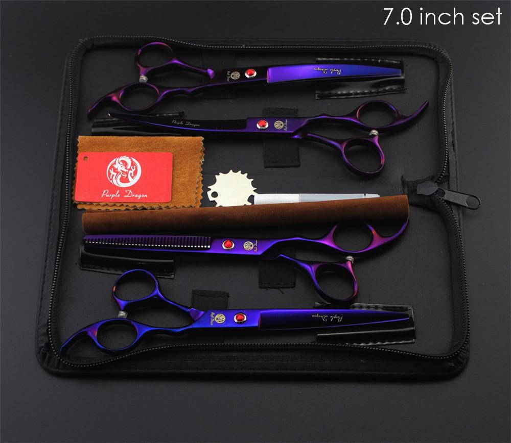 "Purple Dragon Professional Pet Grooming Scissors Set 7"" 8"" Straight+Thinning+Curved Scissors Cat Dog Shears Hair Cutting Tools 8"