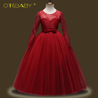 Charming Girls Lace Long Sleeve Ball Gown Kids Red Tulle Luxury Boho Dresses Wedding Dress Children
