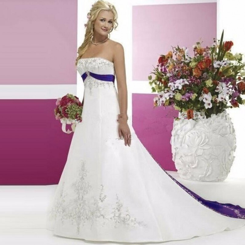 Purple And White Wedding Dresses Satin Bridal Gowns A Line