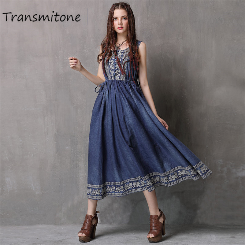 Summer denim Dress 2019 Vintage 100 Cotton Women Dress Embroidery Dress Sleeveless Tank Dresses O Neck