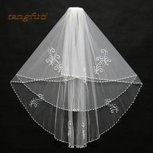Двухслойная Фата невесты белый цвета слоновой кости бисерный жемчуг бисерный Край Свадебные вуали длиной около 75 см свадебные аксессуары дешево