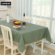 Lovalin Cotton Linen Taplak meja Dot Plaid Dinner Rectangular Taplak Meja Home Kitchen Table Dekorasi Stripe Table Cover ZB002