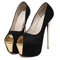 2017 Mulheres Bombas Super 16 cm Sapatos de Salto Alto salto fino Peep Sólida Toe Verão Sapatos Discotecas Sensuais Preto Branco Rosa Tamanho 34-40