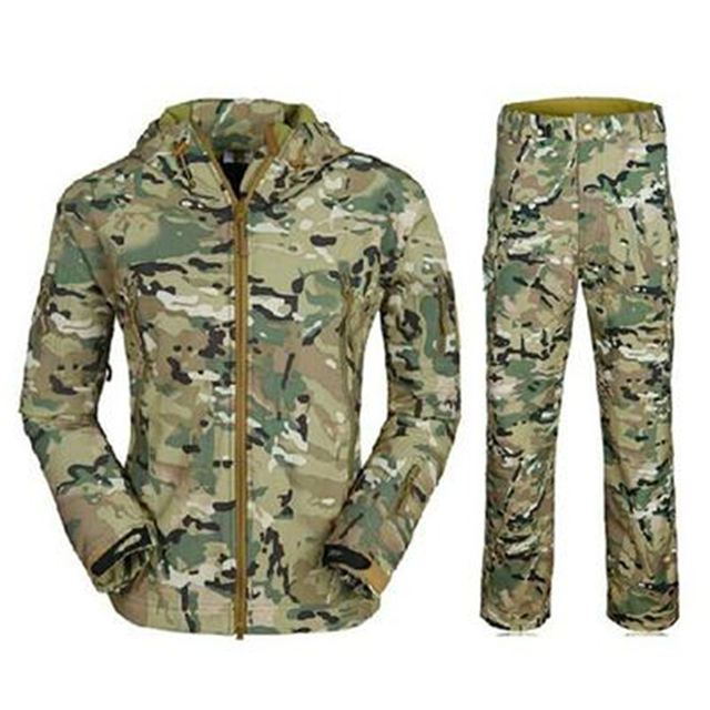 TAD Outdoors Shark Skin Soft Shell Camo Bomber Pilot Jacket Combination Suit Bomber Military Jacket Men;blouson homme
