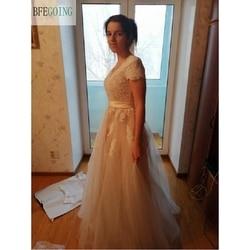 Vestido de novia Lace A-line Wedding dress Cap sleeve  V-back Bridal gown Lace with Tulle 3