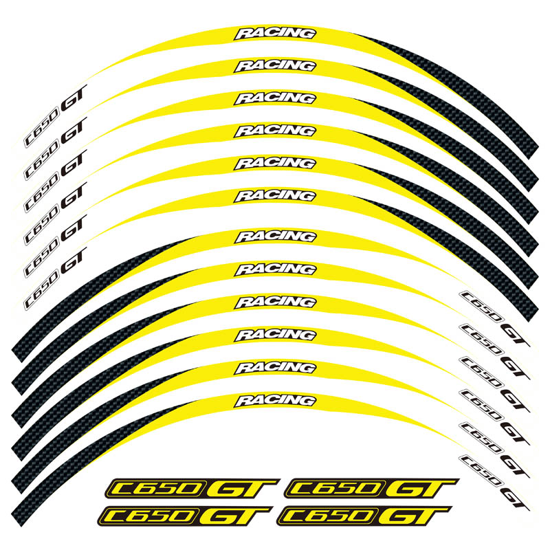 High quality 12 Pcs Fit Motorcycle Wheel decoration Sticker stripe Reflective Rim moto For <font><b>BMW</b></font> C650GT <font><b>C650</b></font> <font><b>GT</b></font> image
