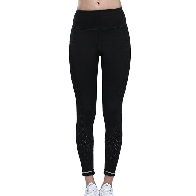 Gym Leggings with Pocket Colorvalue Breathable Mesh Running Jogger Tights Women Stretchy Sport Fitness Pants Reflective Yoga