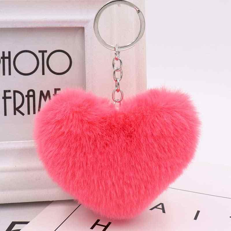Moda pompom coração chaveiros coração saco feminino bonito carro chaveiro jóias falso pele de coelho feminino meninas chaveiros