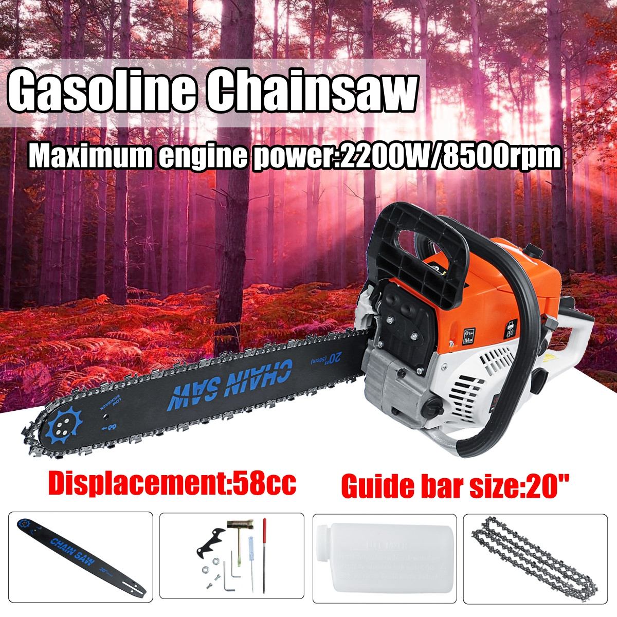 где купить Professional 2200W 20'' Gasoline Chainsaw Machine Cutting Wood 58CC 8500rmp GAS China Saw по лучшей цене