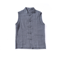 Men's traditional Chinese style vest High Quality Cotton Linen Vest Coat Sleeveless Jacket