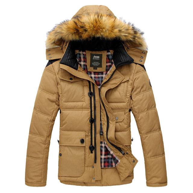Plus tamaño grande M-3XL los nuevos hombres de espesor de nieve de invierno caliente pato blanco abajo cubre la chaqueta para hombre, 3 colores, jp825608, envío gratis
