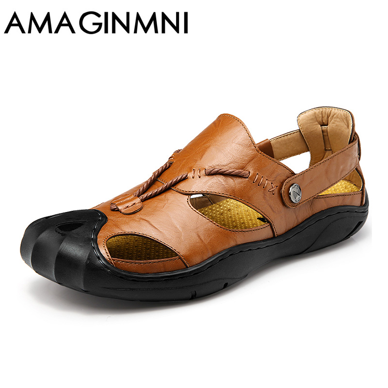 AMAGINMNI genuine leather men sandals summer cow leather new for beach male shoes mens gladiator sandal leather sandals 38 46