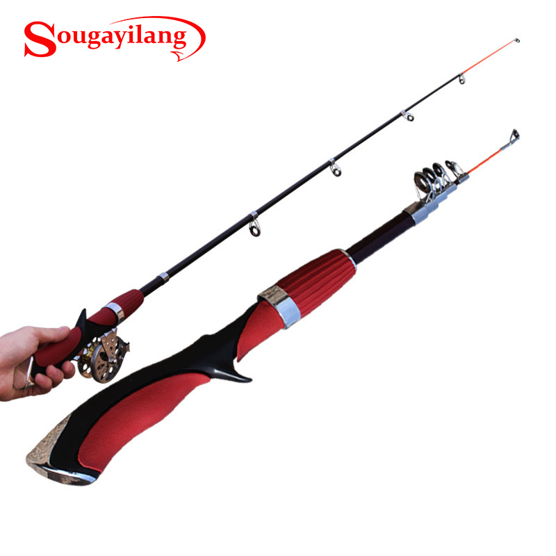 New 140cm mini pole carbon fiber portable sea river fly for Fly fishing with spinning rod