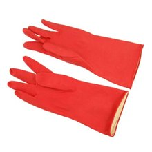 Hot Red Long Household Wash Clean Latex Gloves Size Small